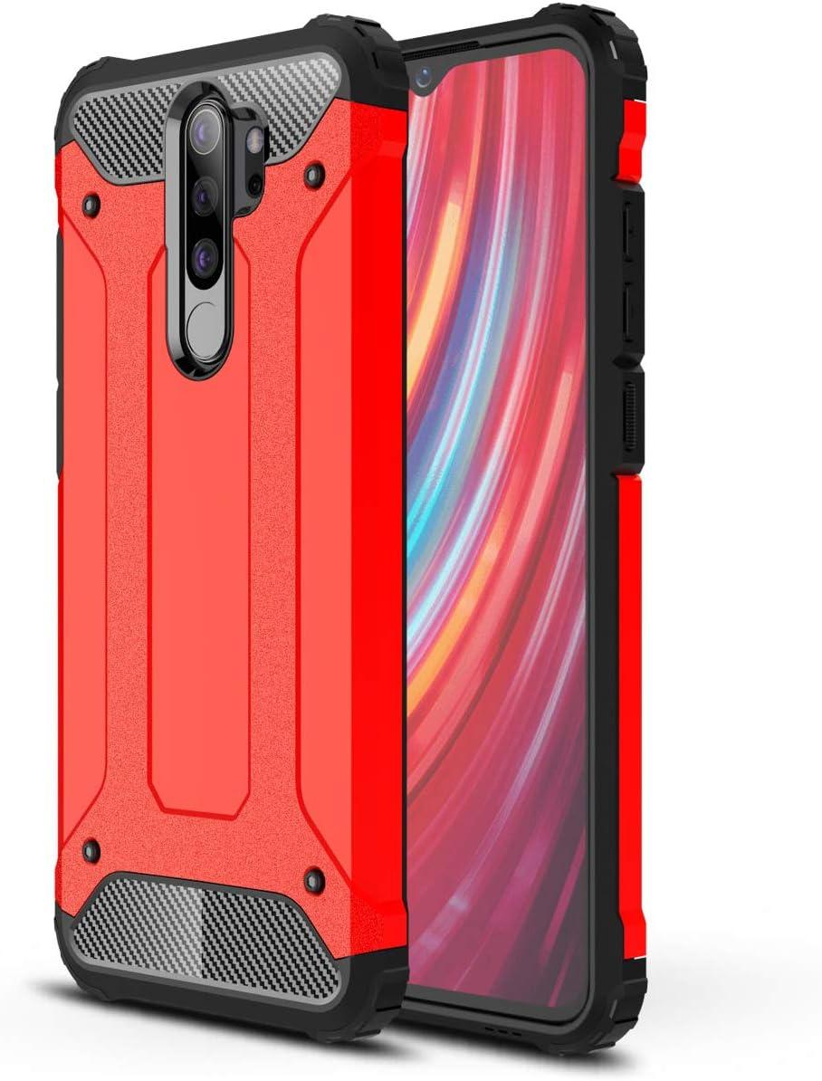 DESCHE Compatibles para Funda Xiaomi Redmi Note 8 Pro, Outdoor Funda Resistente + Cristal Templado, Dura PC + Suave TPU 2-en-1 Doble Protección Armadura Protectora Antigolpes Duradera Carcasa -Rojo
