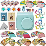 Xtech Fujifilm Instax Mini 9/8 Accessories kit includes: Ice Blue Mini 9 Camera Case, 120 Mini Photo Sticker Frames, 3 Mini Photo Albums, 4 Mini 9/8 Colorful Filters, Large selfie Mirror + More