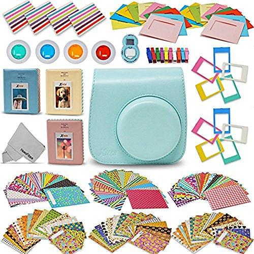 Xtech Fujifilm Instax Mini 9/8 Accessories kit Includes: Ice Blue Mini 9 Camera Case, 120 Mini Photo Sticker Frames, 3 Mini Photo Albums, 4 Mini 9/8 Colorful Filters, Large Selfie Mirror + More