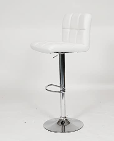 PU Leather Hydraulic Lift Adjustable Counter Bar Stool Dining Chair White 150 Made By jersey seating