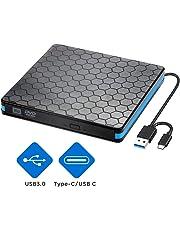 Unidad de CD Externa para DVD con USB 3.0 e Interfaz Tipo C, grabadora portátil