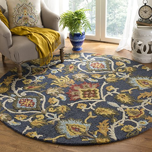 Safavieh Blossom Collection BLM402A Handmade Navy and Multi Premium Wool Round Area Rug (6' Diameter)