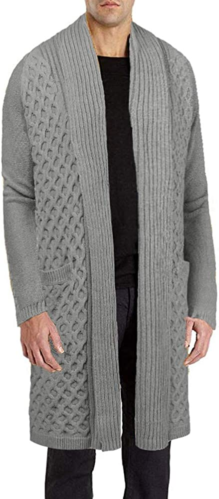 JINIDU Men's Cardigan Sweater Long Knit Jacket Thermal Wool Shawl Collar Coat