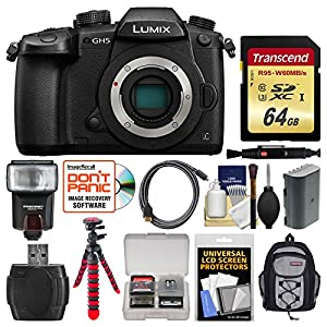 Panasonic Lumix DC-GH5 Wi-Fi 4K Digital Camera Body with 64GB Card + Backpack + Flash + Battery + Tripod + Kit
