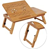 Laptop Stand for Bed Sofa, Laptop Desk Table Stand Adjustable 100% Bamboo Foldable Breakfast Serving Bed Tray w' Tilting Top Drawer (Cooling Fans with Multiple Holes)