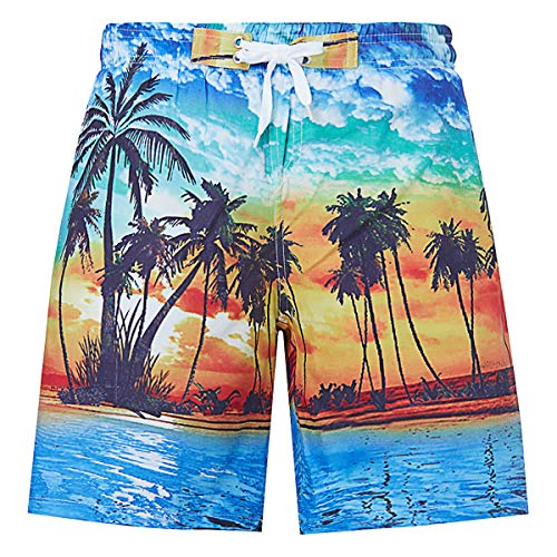 UNICOMIDEA Bathing Suits for Boys Beach Swim Shorts Casual Swim Trunks Hawaiian Swimsuits with Seascape Print Swimwear Quick Dry Outdoor Sports Shorts
