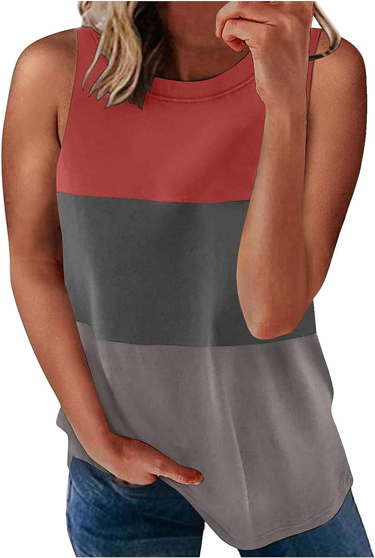 Fashion Women's Loose Sleeveless T-Shirt Round Neck Striped Print Tops
