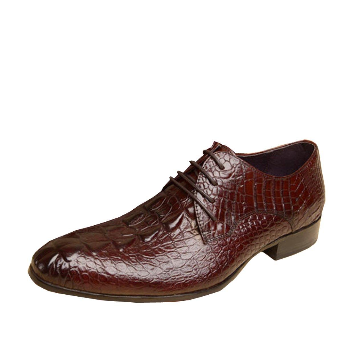 GRRONG Herren Office Business Schuhe Derby Brautschuhe  41|Redwine
