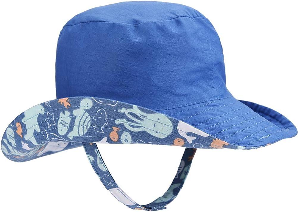 Toddler Sun Hat UPF 50 Kids Summer Play Bucket Cap Baby Sun Hat Double Sides