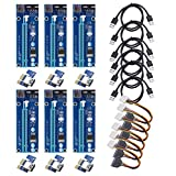 VICTONY 6-Pack PCIe Riser VER 006 PCI-E 16x to 1x Powered Riser Adapter Card w/ 60cm USB 3.0 Extension Cable & MOLEX to SATA Power Cable - GPU Riser Adapter - Ethereum Mining ETH+MintCell 6 Cable Ties