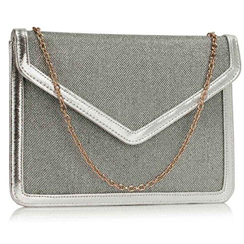 Xardi London Medium simili cuir femmes Soirée enveloppe Pochette de soirée de mariage Rabat Paillettes silver