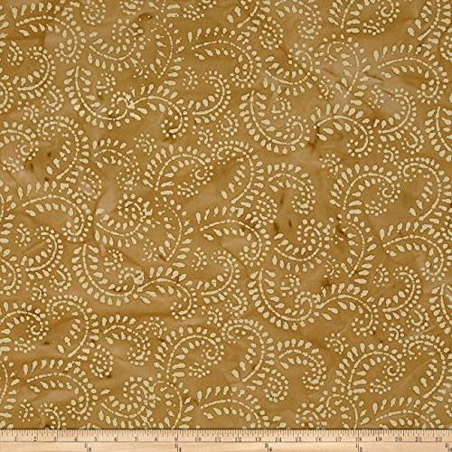 Indian Batik Hollow Ridge Scroll Vine Tan/Natural Fabric By The Yard