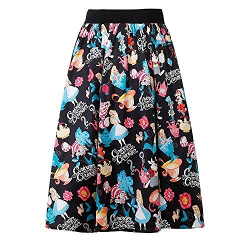 Candow Look Mujer Faldas Cotton Alice Print Circle Skirt