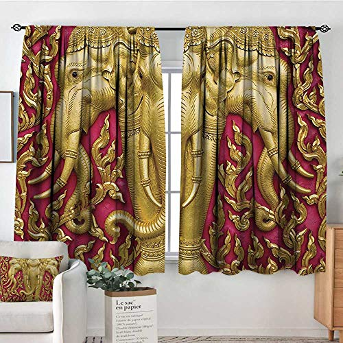 Theresa Dewey Sliding Curtains Elephant,Yellow Toned Elephant Motif on Door Thai Temple Spirituality Statue Classic,Fuchsia Mustard,Thermal Insulated Light Blocking Drapes for Bedroom 63