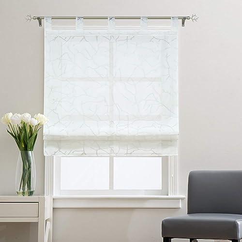 Yujiao Mao Voile Sheer Window Curtain Roman Shade Tab Top Balloon Shades for Kitchen Bedroom Bathroom,1pc White,W55 xL55