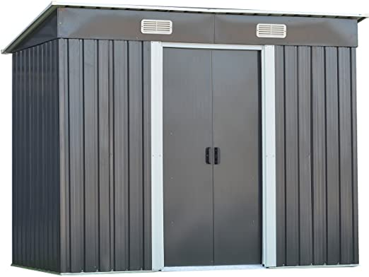 GOPLUS - Cobertizo de Almacenamiento de Acero galvanizado para jardín al Aire Libre, 4 x 8 pies, Herramienta de Uso Pesado con Puerta corredera: Amazon.es: Jardín
