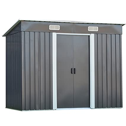 Beau Goplus Galvanized Steel Outdoor Garden Storage Shed 4 X 8 Ft Heavy Duty  Tool House W
