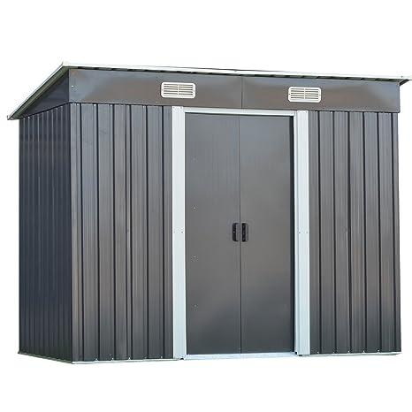 GOPLUS - Cobertizo de Almacenamiento de Acero galvanizado para jardín al Aire Libre, 4 x