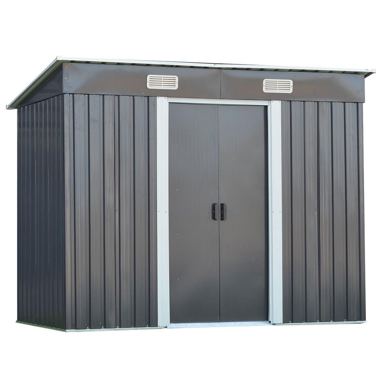 Goplus Galvanized Steel Outdoor Garden Storage Shed 4 x 8 Ft Heavy Duty Tool House W/ Sliding Door (Gray)