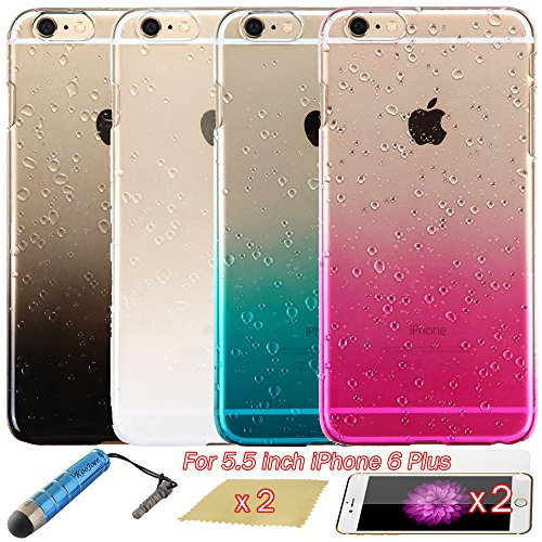 KooJoee Hard Plastic Skin Back Cover for iPhone 6 Plus - 4 Pack - 3D Clear  Rain Drops