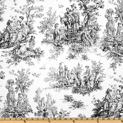 Premier Prints Colonial Toile Black/White Fabric By The Yard - Black White Upholstery Fabric