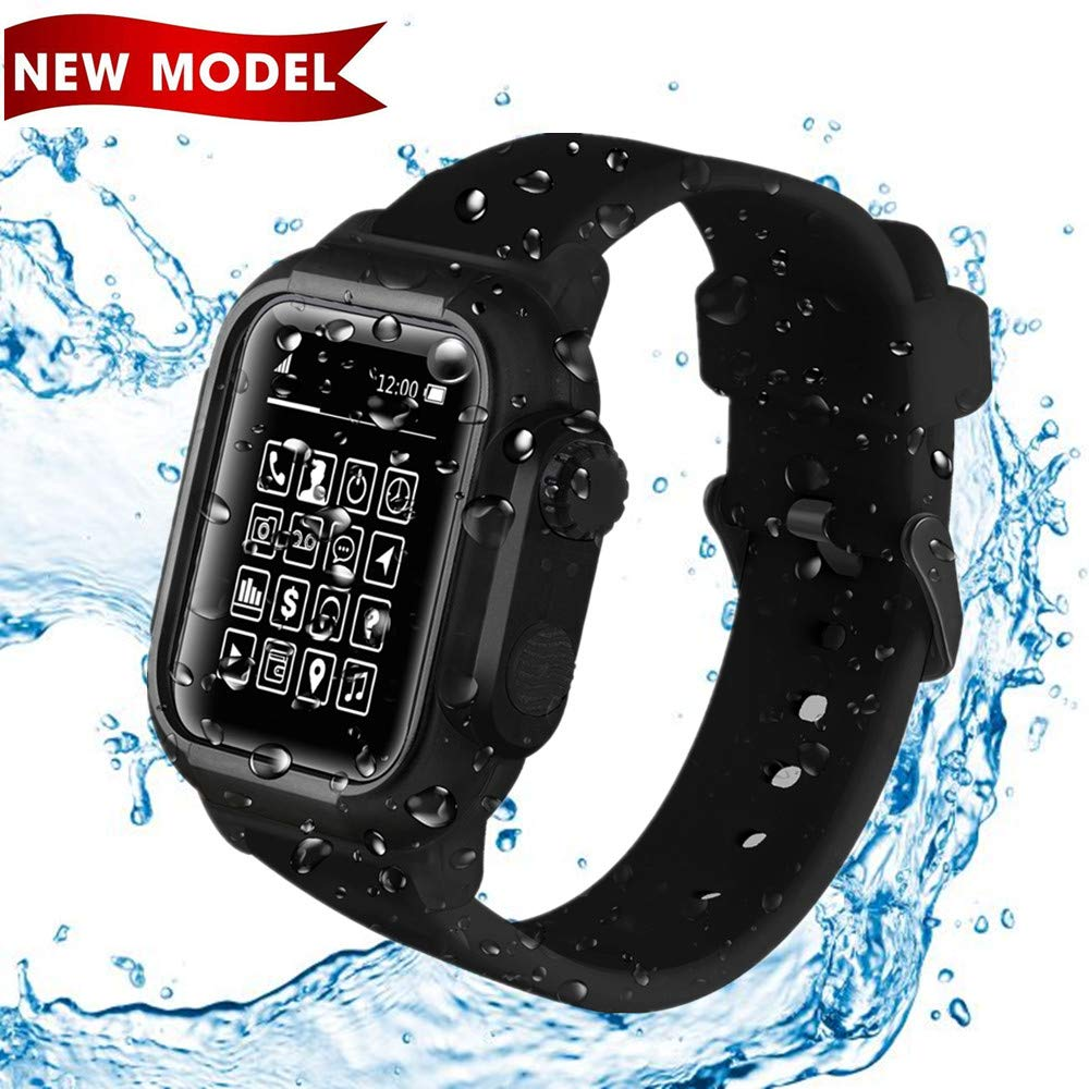 Waterproof Case For Apple Watch 44mm -IP68 Waterproof Shockproof Impact Resistant with Premium Soft Silicone Apple Watch Sport Band /Drop-Proof Apple Watch Case -Compatible iWatch 44mm Series 4(Black)