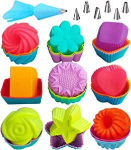 Silicone Cupcake Baking Cups Non-Stick Muffin Liners 9 Shapes Reusable Cake Molds Donut Pans