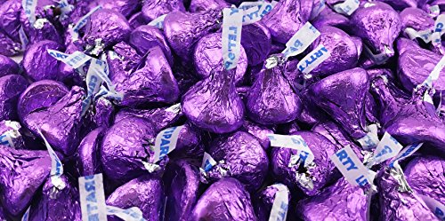 LaetaFood Bag - Hershey's Kisses, Milk Chocolate in Purple Foil (Pack of 2 Pound)