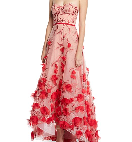 3ce70891 Marchesa Notte Crested 3-D Flower Gown - RED - 4 at Amazon Women's ...