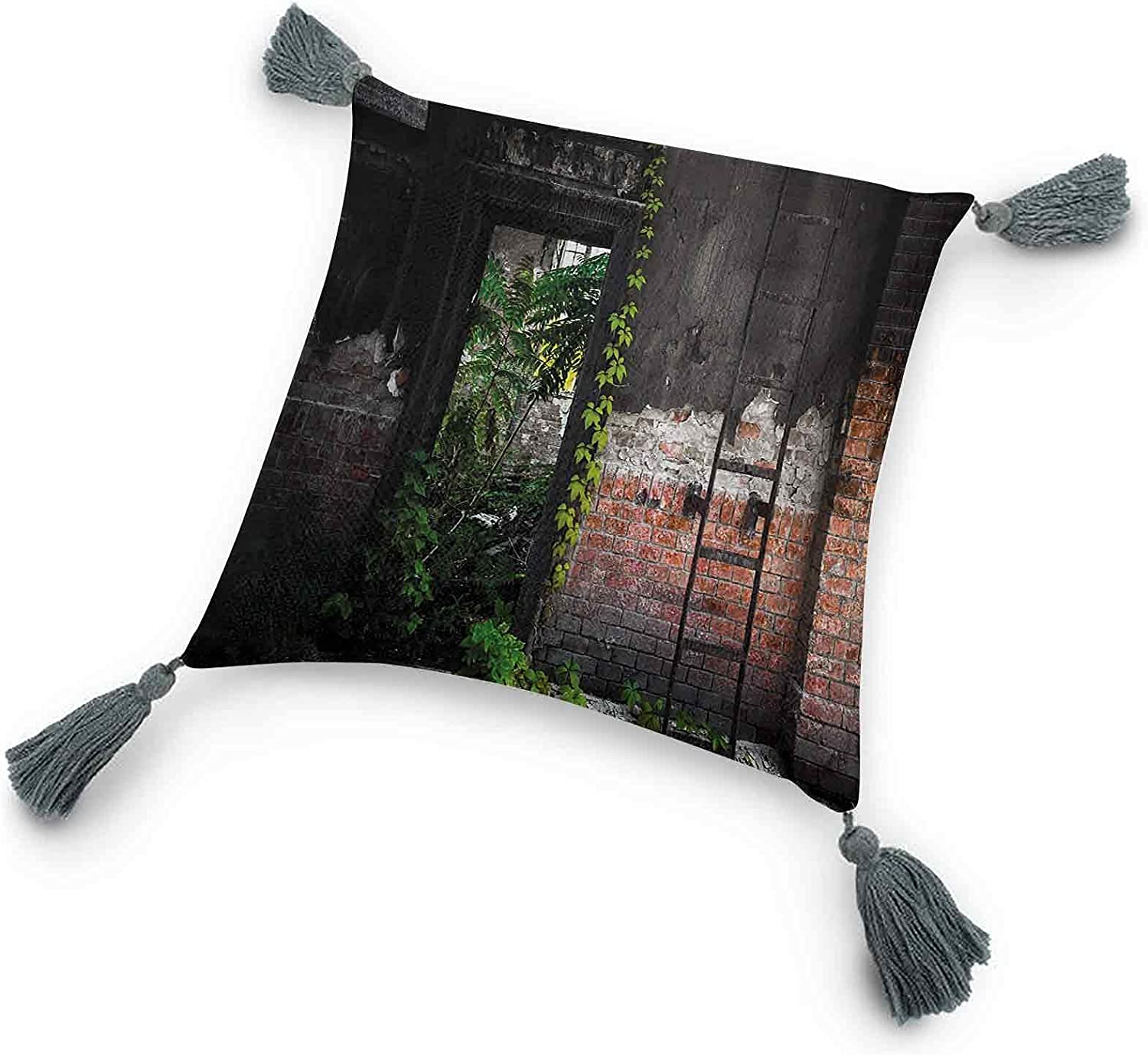 Industrial Throw Pillow with TasselsOld Door Opening in a Desolate Industry Building Brick Wall with Ivy Plants Accent Decor Pillow Home Bed Living Room Shell GiftMulticolor