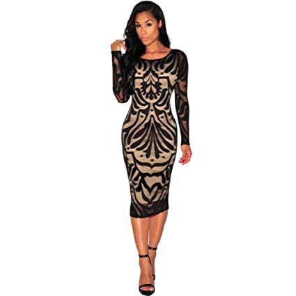 Amazon.com  Women Dress Sexy Retro Bodycon Formal Office Pencil Mini Dress  Zipper Club Party Half Sleeve Slim Sheath Skirt (M f8b360722b60