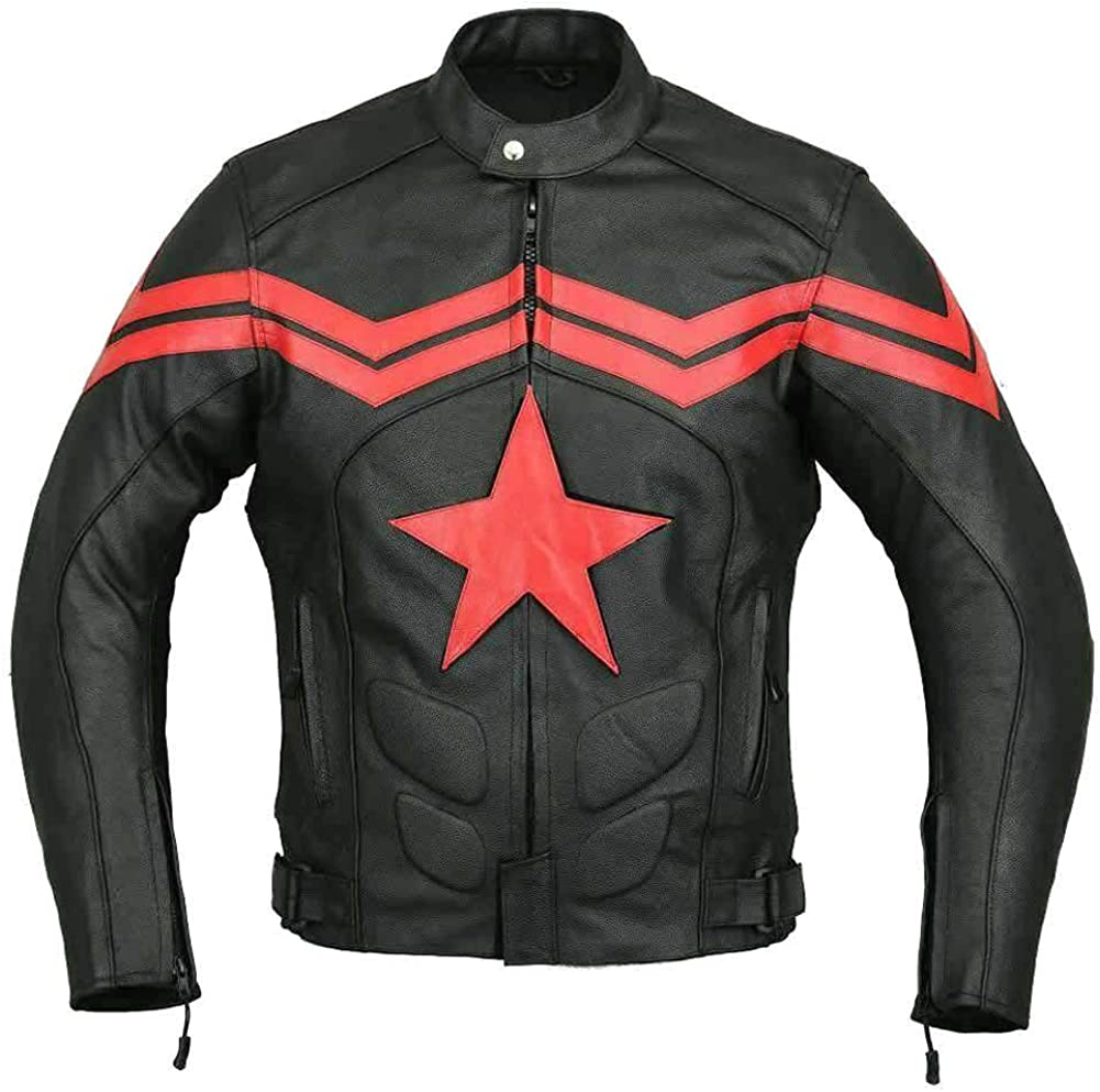 Stormwise Mens Fashion America Motorcycle Real Leather Captain Jacket