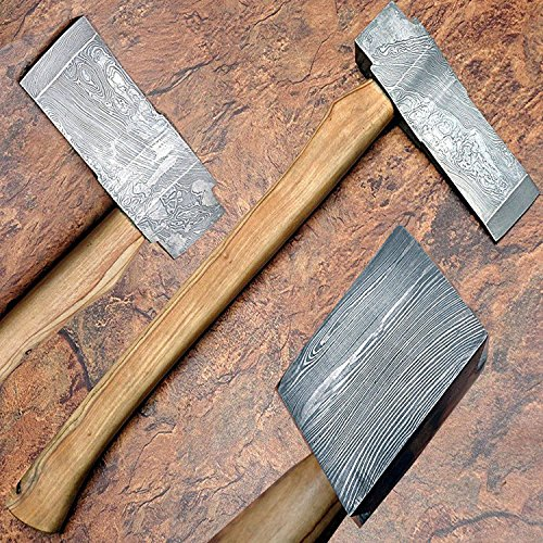 AO-3ACJ-YN00-8533 Damascus Steel AXE – Handmade Axe – 19.40 Inches – Olive Wood Handle – With Sheath