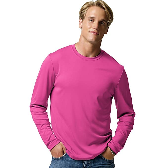 52885b831 Image Unavailable. Image not available for. Color  Hanes Cool DRI reg   Performance Men s Long-Sleeve T-Shirt Wow Pink L