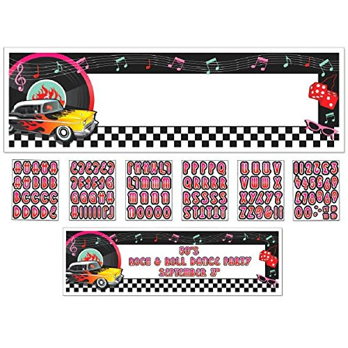 Amscan Fun 50's Personalize It! Giant Party Sign Banner (121 Piece), 65