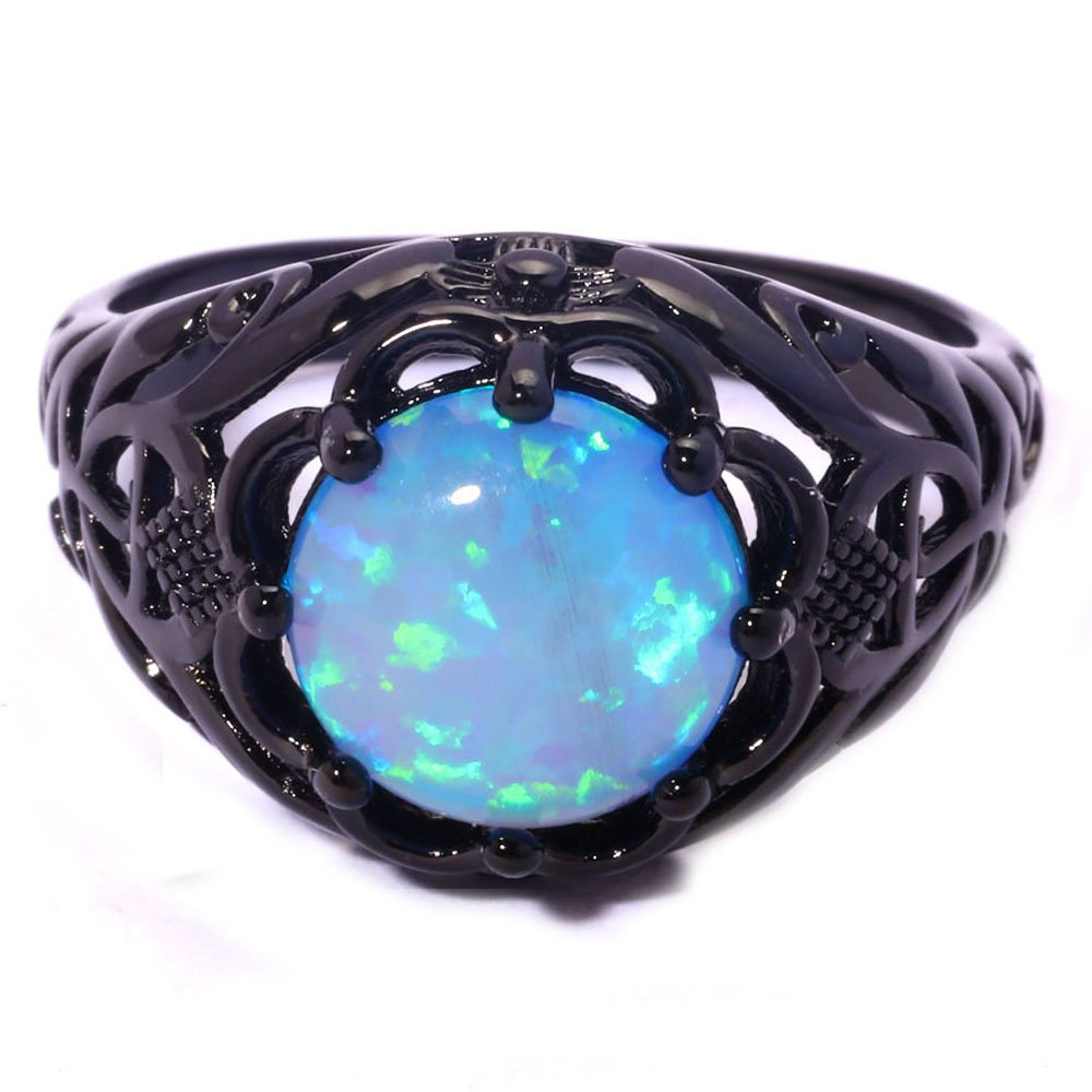 F/&T JEWEL Blue Fire Opal Black Gold Color Fashion Jewelry Ring For Women Engagement Wedding Rings