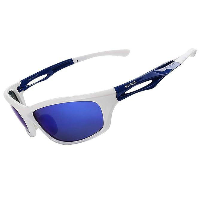 AnazoZ Gafas Polarizadas Gafas Deportivas Gafas de Montar Gafas Protectoras Viento Gafas Azul Blanco