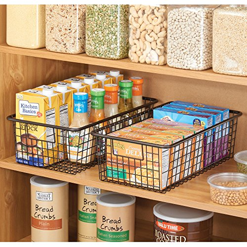 mDesign Modern Farmhouse Metal Wire Storage Organizer Bin Basket with Handles for Kitchen Cabinets, Pantry, Closets, Bedrooms, Bathrooms - 16.25