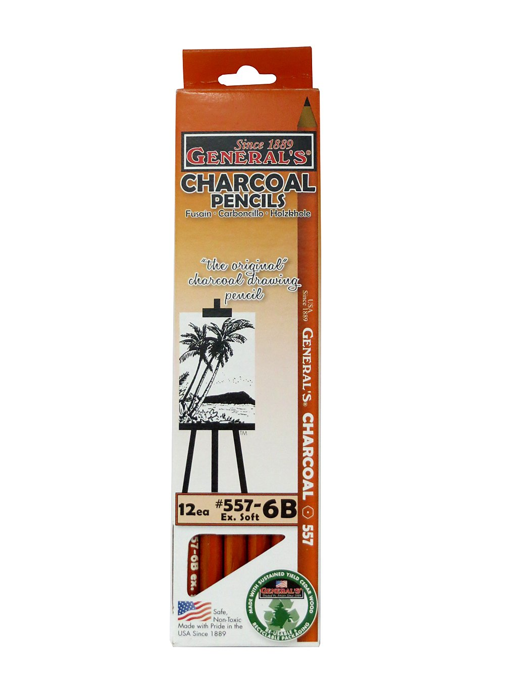 The Original Charcoal Pencil by General Pencil- Box of 12 Extra Soft 6B GEN-557-6B