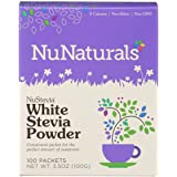 NuNaturals NuStevia White Stevia Powder, Calorie-Free Natural Sweetener Packets, 100-Count (Packaging May Vary)