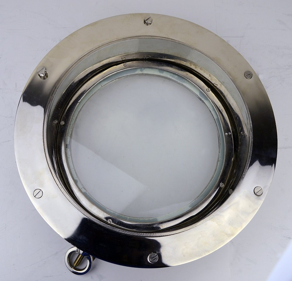 """12"""" Nickel Finish over Solid Brass Heavy Porthole Window with 2'' Deep Flange - Functional"""
