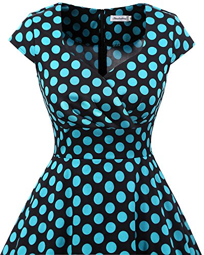 Manches Blue Robe Robe Bbonlinedress Black Cocktail col de sans carr Rtro Vintage au Bdot plisse Femme Rockabilly Genou UqwwPfadx