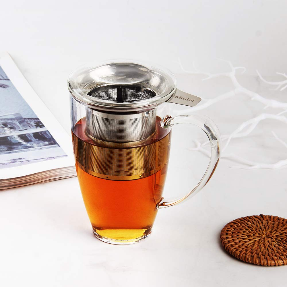 Enindel Glass Tea Mug with Infuser and Lid 1# 16 OZ Set of 1