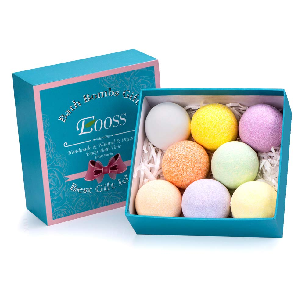 Bath Bombs Gift Set - 8 Natural Handmade Spa Bomb Kit with Different Essential Oils - Perfect Birthday Gift ideas for Her, Women, Mom, Teens, Girls EOOSS EOOSS-GH-004-01US