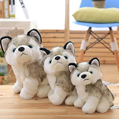 wsloftyGYd Cute Simulation Husky Dog Plush Toy Puppy Stuffed Animal Kids Boys Girls Doll Plush Toy Plush Dog Toy Dog Doll Plush Doll Imitation Husky 18cm: Home & Kitchen