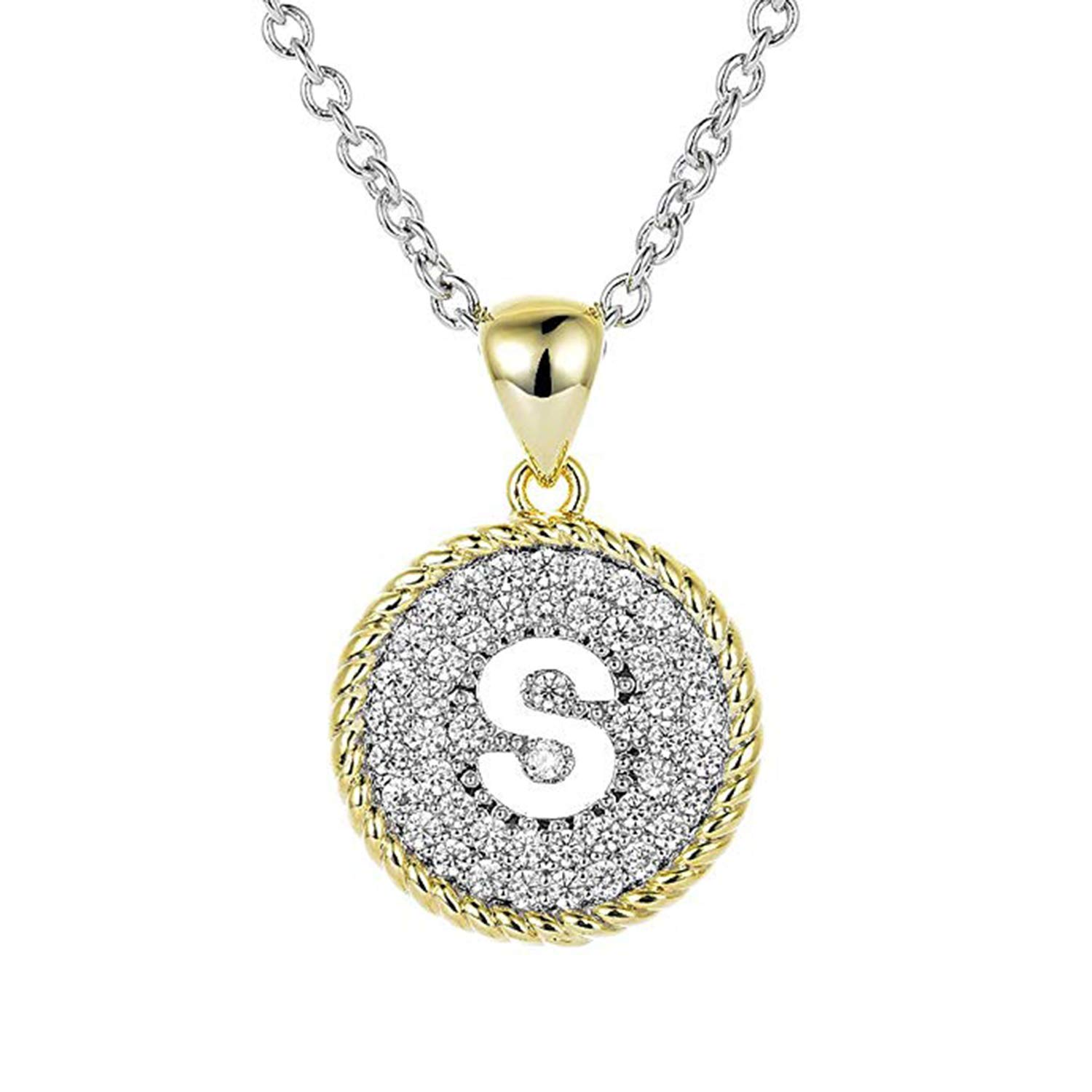 SJSilver Jewels 14K Gold Plated Simulated Diamond Studded S Initial Letter Pendant Jewelry
