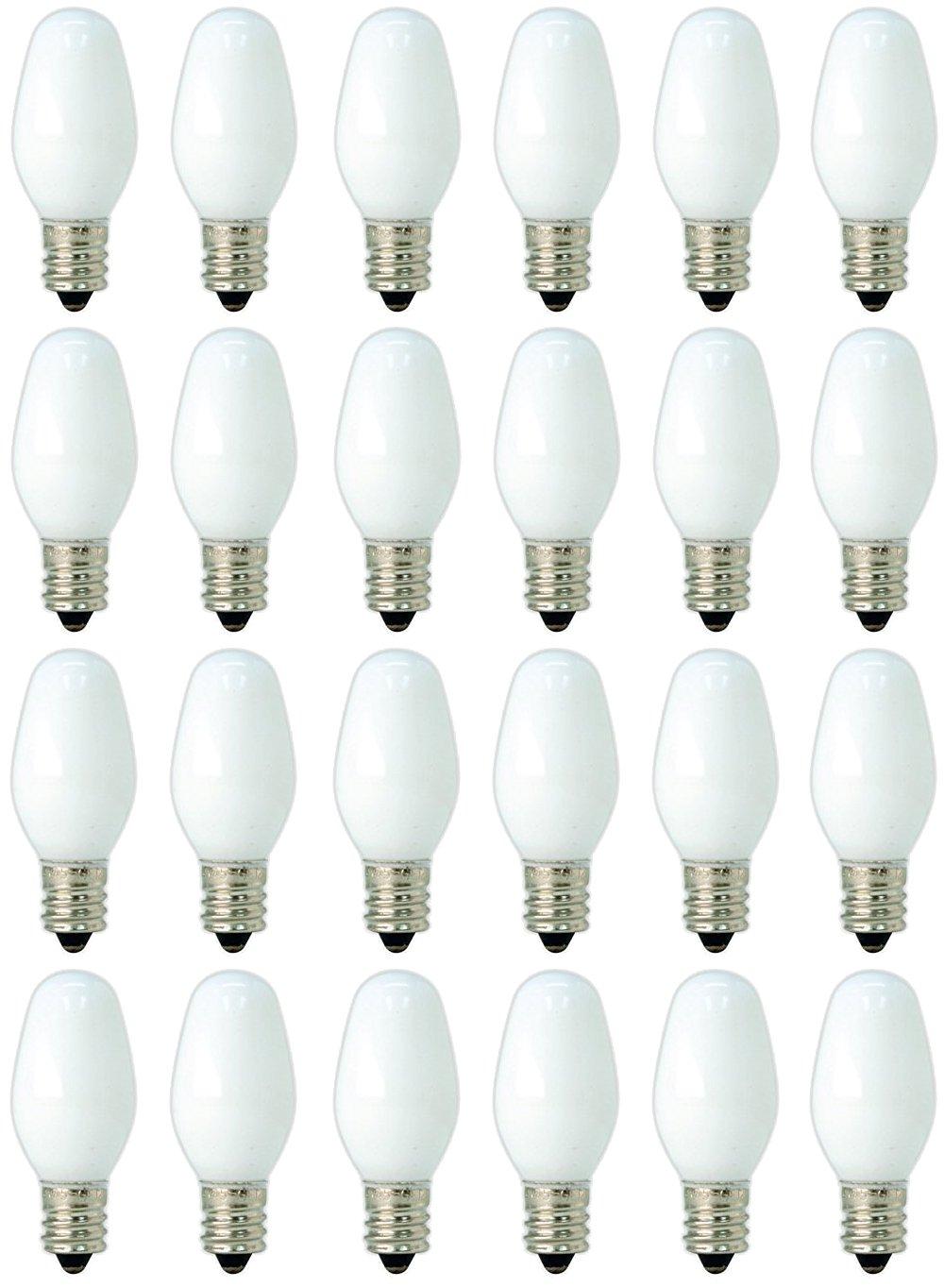 GE C7 Night Light Bulbs White 24 Pack 4-Watt 20573