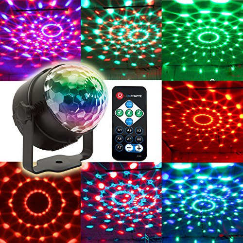 Disco Ball Sound Activated with Remote,7 Colors Party Lights Multi Color Disco Light Rotating Crystal Magic Ball Projector LED DJ Lights Strobe Lights Show for Dance Karaoke DJ Bar Wedding