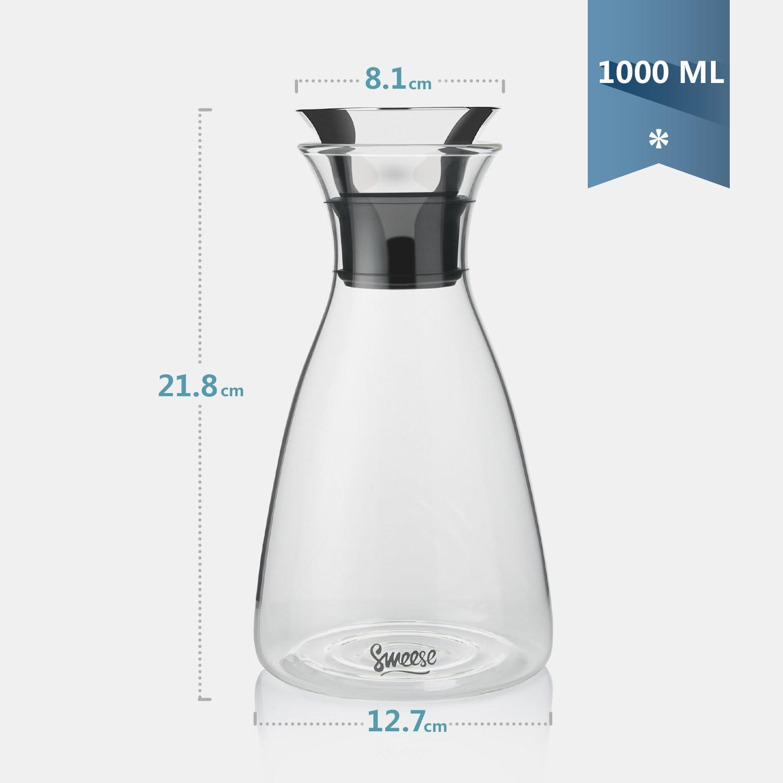 Sweese Karaffen 1 Liter Wasserkrug Hitzebest/ändigkeit Wasserkaraffe mit Edelstahl und Silikon Tropf-Freie Lippe Glaskaraffe Serving Hausgemachte S/äfte und Eistee Wein oder Glas Milchflaschen