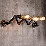 Industrial Rustic 3 lights Wall Sconce-LITFAD Steampunk Pipe Vintage Edison Wall Light Wall Mounted Lighting Fixture Copper Finish